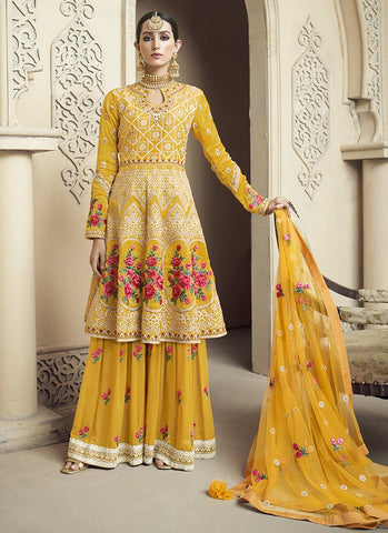 Yellow Color Pure Viscose Upada  Women's Semi Stitched Salwar Suit - RS2079