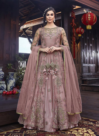 Pink Color Premium Net Women's Semi Stitched Salwar Suit - RS2081