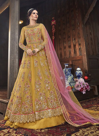 Yellow Color Butterfly Net Women's Semi Stitched Salwar Suit - RS2082