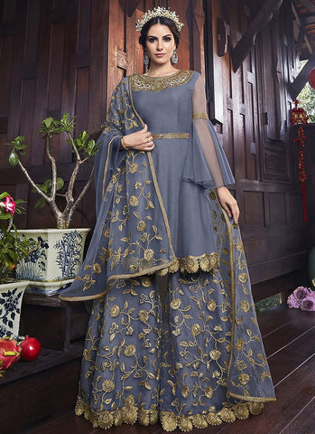 Grey Color Butterfly Net Women's Semi Stitched Salwar Suit - RS2083