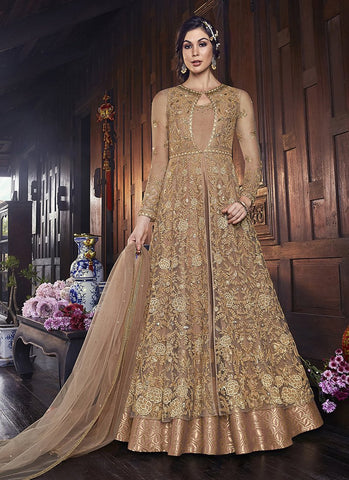 Peach Color ButterFly Net Jacket Women's Semi Stitched Salwar Suit - RS2086