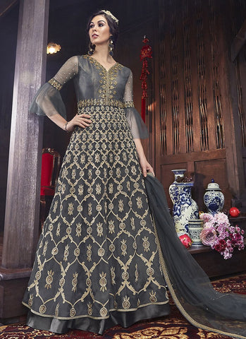 Grey Color ButterFly Net Women's Semi Stitched Salwar Suit - RS2087