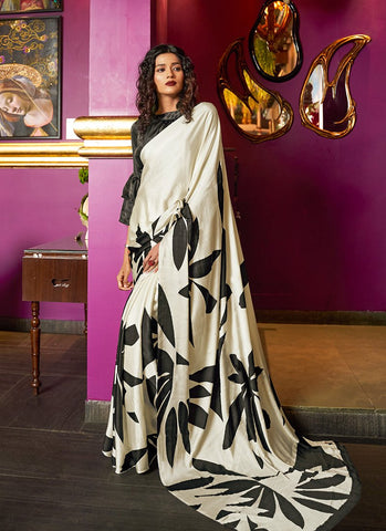 Off White Black Color Japan Crepe Satin Women's Soft Saree - RS2107