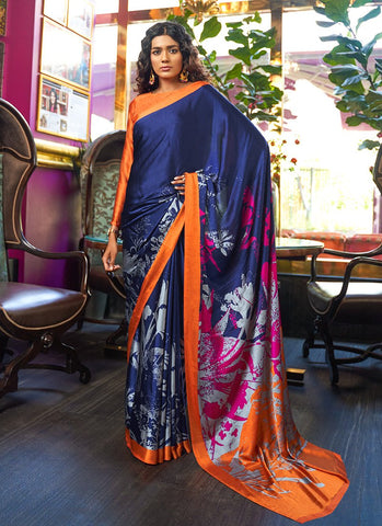 Royal Blue Color Japan Crepe Satin Women's Soft Saree - RS2113