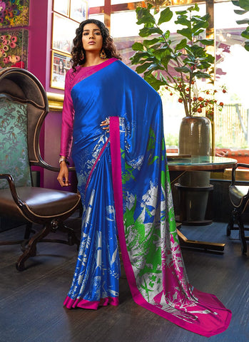 Royal Blue Color Japan Crepe Satin Women's Soft Saree - RS2114