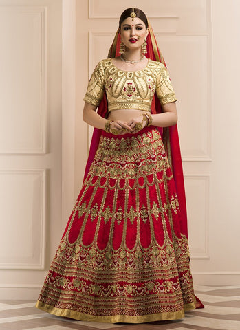 Red Color Banglori Silk Women's Semi-Stitched Lehenga - RS2125