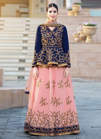 Peach Color Banglori Silk Women's Semi-Stitched Lehenga - RS2128