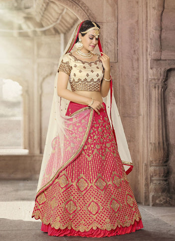 Red Color Bhagalpuri  Women's Semi-Stitched Lehenga - RS2129