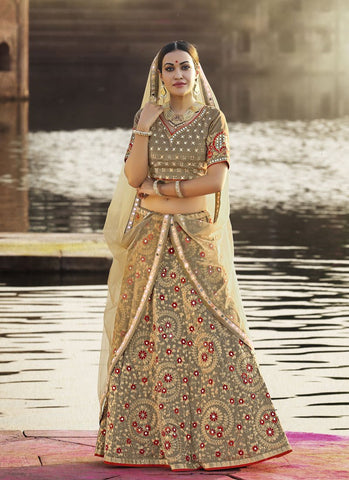 Brown Color Crepe Silk Women's Semi-Stitched Lehenga - RS2130
