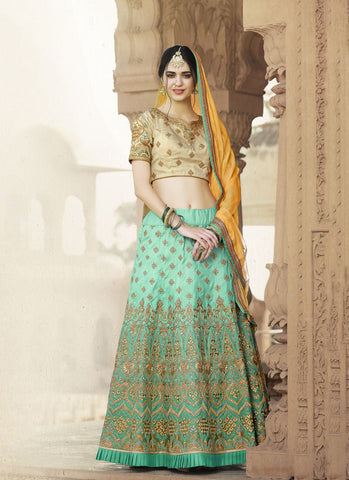 Turquoise Color Pure Banarasi Women's Semi-Stitched Lehenga - RS2131