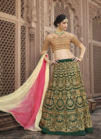 Green Color Banglori Silk Women's Semi-Stitched Lehenga - RS2132
