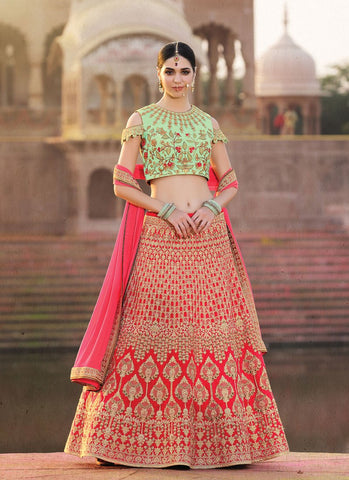 Red Color Banglori Silk Women's Semi-Stitched Lehenga - RS2133