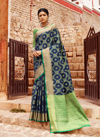 Multi Color Indian Patola Silk Women's Saree - RS2139