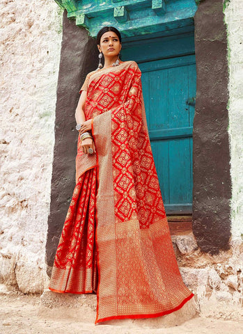 Red Color Indian Patola Silk Women's Saree - RS2140