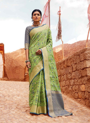 Green Color Indian Patola Silk Women's Saree - RS2141