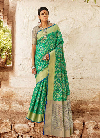 Green Color Indian Patola Silk Women's Saree - RS2144