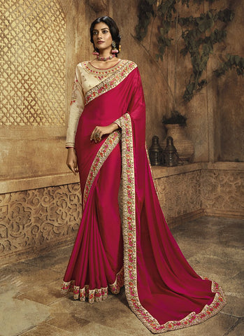 Rani Color Crepe Silk Women's Fancy Border Saree - RS2150
