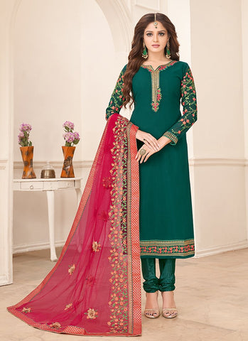 Green Color Faux Georgette Women's Semi-Stitched Salwar Suit - RS2157