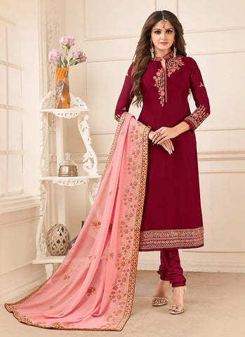 Maroon Color Georgette Satin Women's Semi-Stitched Salwar Suit - RS2158