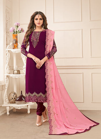 Purple Color Rangoli Georgette Women's Semi-Stitched Salwar Suit - RS2159
