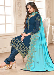 Blue Color Faux Georgette Women's Semi-Stitched Salwar Suit - RS2160