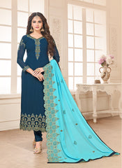 Buy Blue Color Faux Georgette Women's Semi-Stitched Salwar Suit
