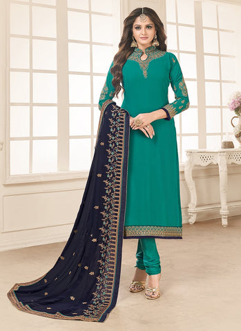 Teal Color Faux Georgette Women's Semi-Stitched Salwar Suit - RS2161