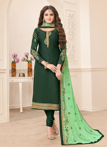 Green Color Georgette Satin Women's Semi-Stitched Salwar Suit - RS2162