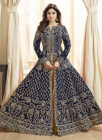 Navy Color Royal Silk Women's Semi-Stitched Salwar Suit - RS2163