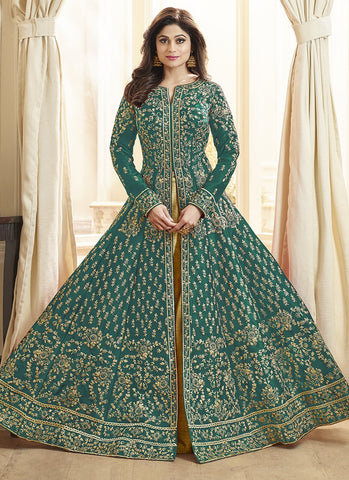 Green Color Royal Silk Women's Semi-Stitched Salwar Suit - RS2164