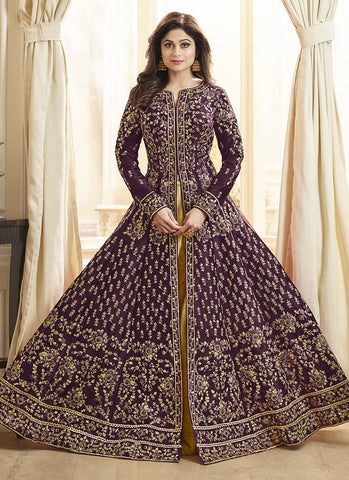 Maroon Color Royal Silk Women's Semi-Stitched Salwar Suit - RS2165