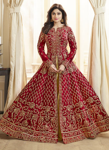 Red Color Royal Silk Women's Semi-Stitched Salwar Suit - RS2166