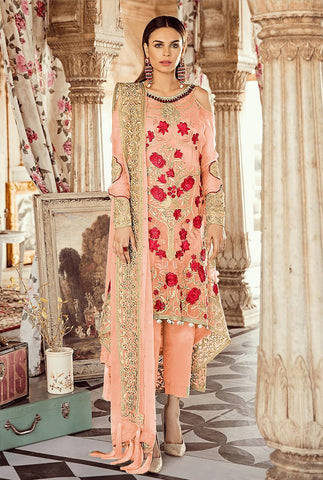 Peach Color Faux Georgette Women's Un-Stitched Salwar Suit - RS2353