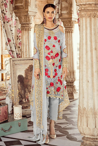 Grey Color Faux Georgette Women's Un-Stitched Salwar Suit - RS2355