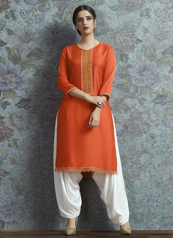 Orange Color Modal Satin Women's Semi-Stitched Salwar Suit - RS2378