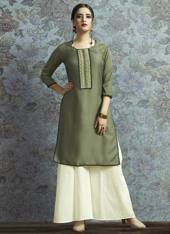 Sea Green Color Modal Satin Women's Semi-Stitched Salwar Suit - RS2379