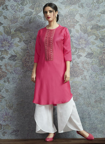 Pink Color Modal Satin Women's Semi-Stitched Salwar Suit - RS2381