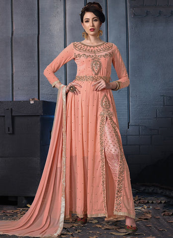 Peach Color Faux Georgette Women's Semi Stitched Dress - RS2399