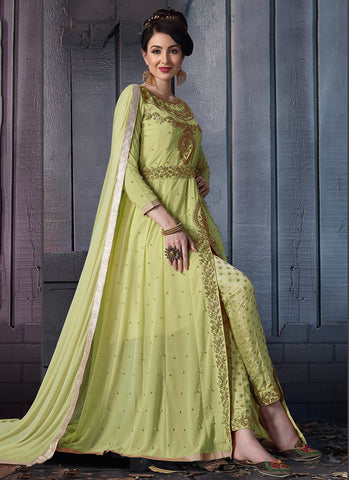 Light Green Color Faux Georgette Women's Semi Stitched Dress - RS2400