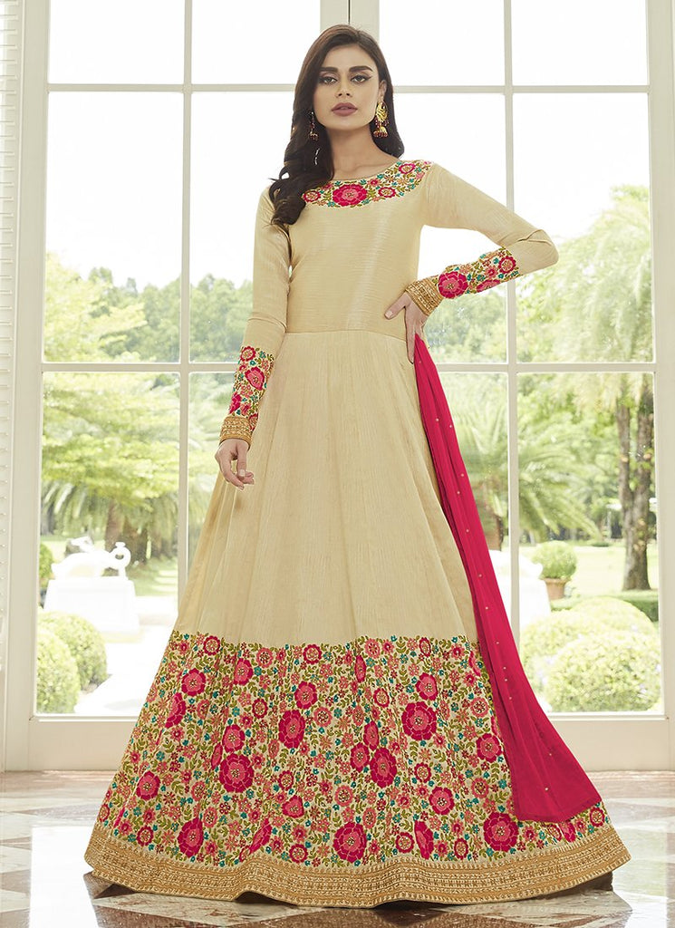 Buy Beige Color Mulberry Silk Women's Semi-Stitched Salwar Suit