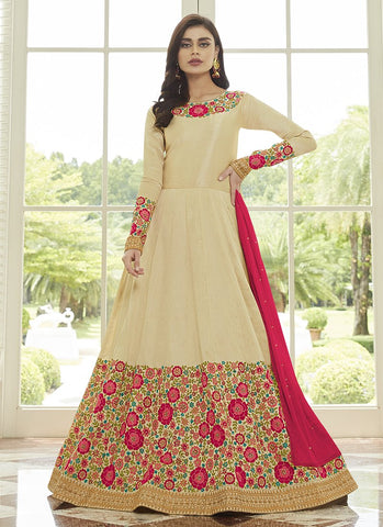 Beige Color Mulberry Silk Women's Semi-Stitched Salwar Suit - RS2443