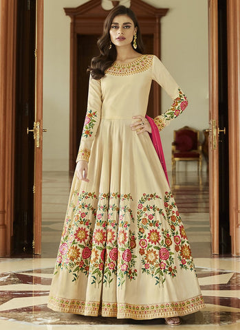 Beige Color Mulberry Silk Women's Semi-Stitched Salwar Suit - RS2444