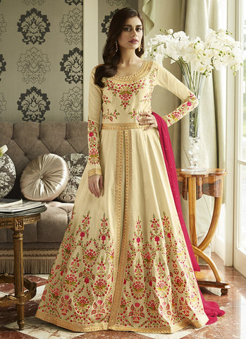 Beige Color Mulberry Silk Women's Semi-Stitched Salwar Suit - RS2445