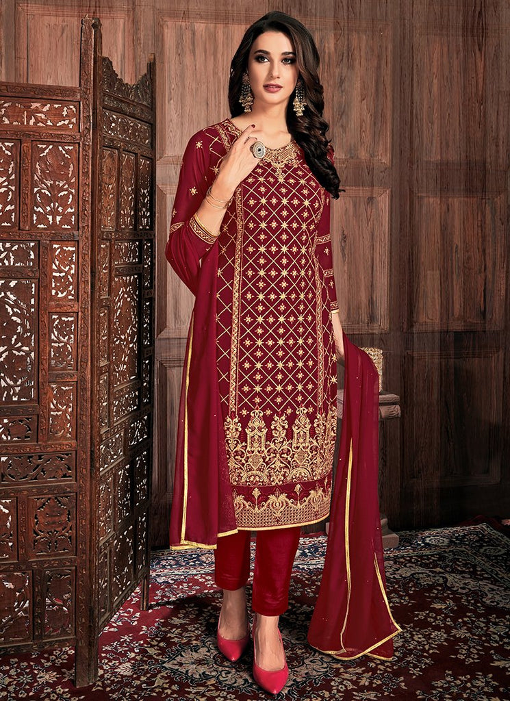 Buy Maroon Color Georgette Women's Semi-Stitched Dress