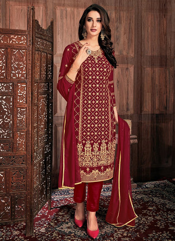 Maroon Color Georgette Women's Semi-Stitched Dress - RS2453