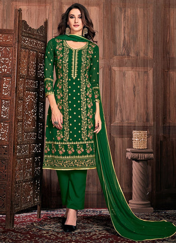 Royal Green Color Georgette Women's Semi-Stitched Dress - RS2457