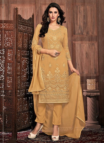 Cream Color Georgette Women's Semi-Stitched Dress - RS2458