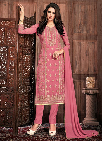Pink Color Georgette Women's Semi-Stitched Dress - RS2459
