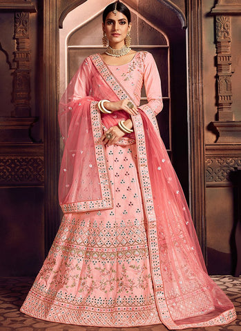 Light Pink Color Silk Women's Semi-Stitched Lehenga - RS2470