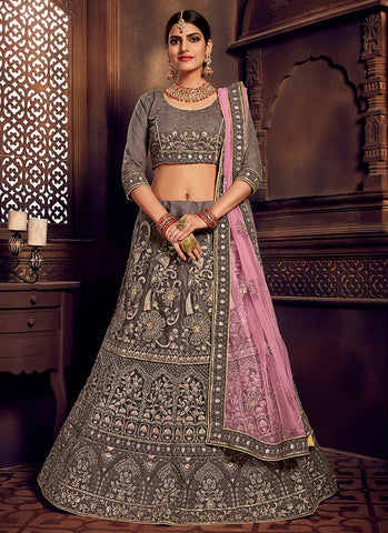 Grey Color Net Women's Semi-Stitched Lehenga - RS2471